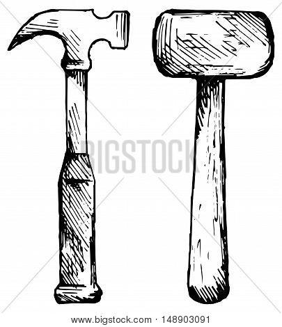 Set hammer. Isolated on white background. Doodle style