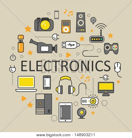 Electronics Technology Line Art Thin Vector Icons Set with Computer and Gadgets