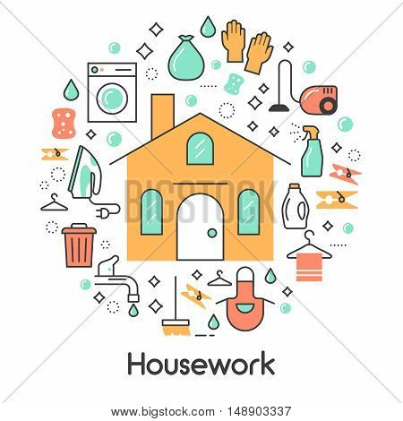 House Work Line Art Thin Vector Icons Set with Washing Machine and Vacuum