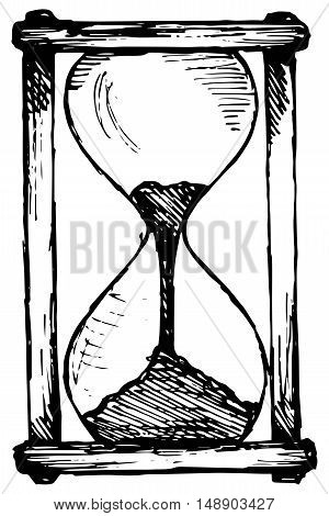 Hourglass sketch. Isolated on white background. Doodle style