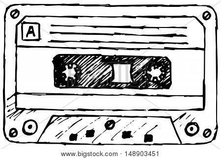 Audio cassette tape. Vector illustration, doodle style