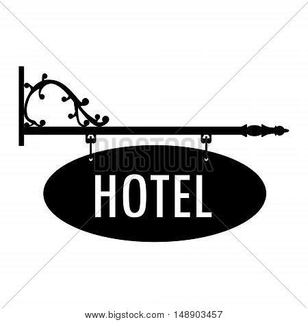 Vector illustration hotel vintage old sign. Signage shop sign route hanging information banner retailer. Hotel door sign