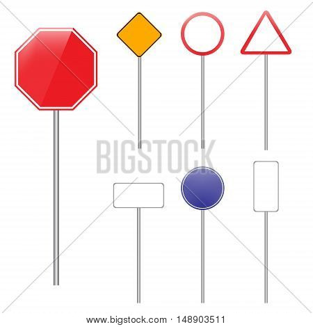 Vector illustration set of road signs. Blank traffic sign collection