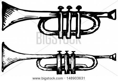 Trumpet, musical instrument. Vector illustration, doodle style