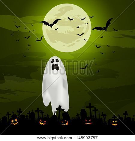 Halloween background with spooky ghost and pumpkins