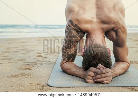 Man Planking Stretching Flex Training Healthy Lifestyle Beach Concept