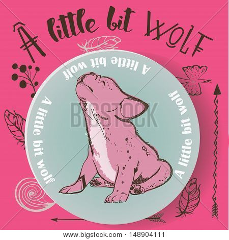 little pink cute bulldog howling. vector illustration