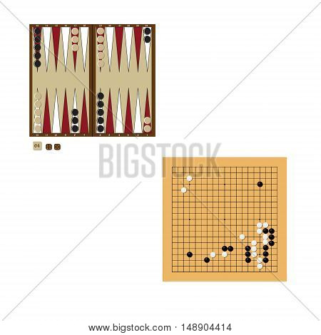 Backgammon wooden board two dices and doubling cube and chips for game. Vector illustration traditional chinese japanese strategy board game. Go game.