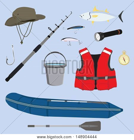 Vector illustration fishing icon set collection. Fisherman equipment