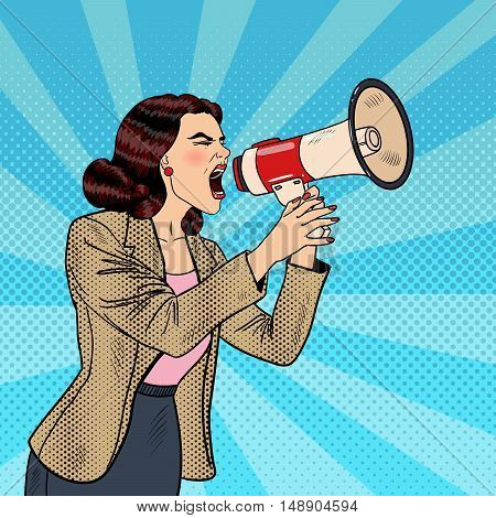 Pop Art Business Woman Shouting in Megaphone. Vector illustration