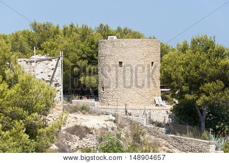 Mills of Vent de la Plana Javea Alicante Spain. Wheat transformation into flour began the construction of these mills. The remains that exist correspond to constructions realised in the 18 century.