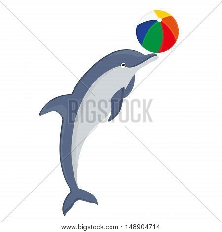 Vector illustration jumping dolphin playing with ball isolated on white background. Dolphin icon. Beach summer ball. Sea creature