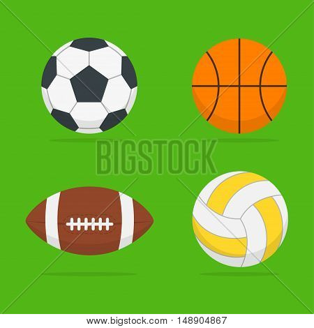 Sport ball vector set of isolated from the background. Icons football basketball volleyball and american football ball in the style flat. Symbols sports equipment.
