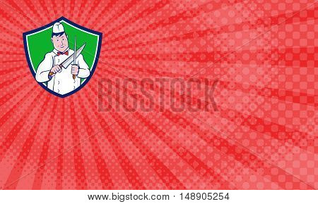 Business Card showing Illustration of a butcher cutter worker sharpening knife viewed from front set inside shield crest on isolated background done in cartoon style.