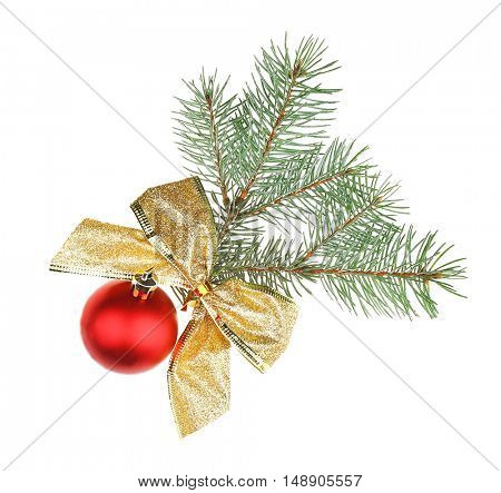 Glass ball, bow and pine-tree branch isolated on white