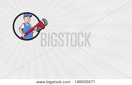 Business Card showing Illustration of a mechanic cradling holding giant pipe wrench looking to the side viewed from front set inside circle on isolated background done in cartoon style.
