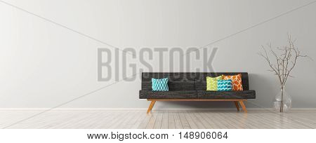 Modern Interior Of Living Room With Black Sofa 3D Render