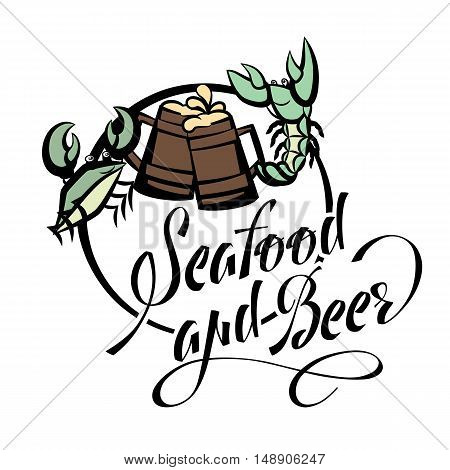 Logo seafood and beer lettering. Crayfish and crab green beer glasses. Vector illustration isolated on white background.