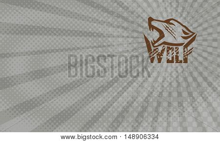 Business card showing Illustration of a wolf head howling viewed from the side set on isolated white background with the text word Wolf done in retro style.