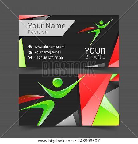 vector colorful banner superhero holding card logo abstract