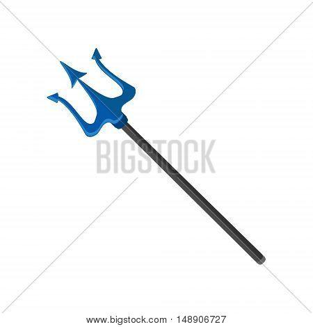 Vector illustration neptune poseidon trident. Blue trident icon isolated on white background