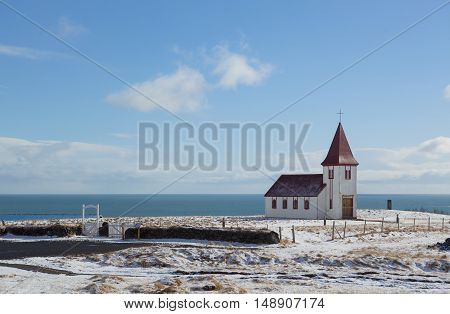 Church in Iceland at daytime with blue sky