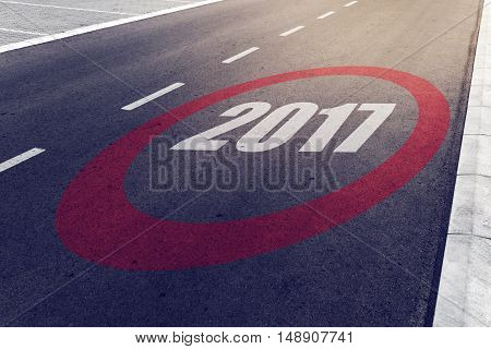 2017 speed limit sign on highway new year concept