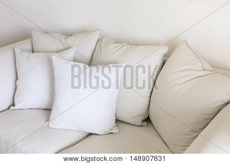 Pillows on sofa Room interior Decoration background