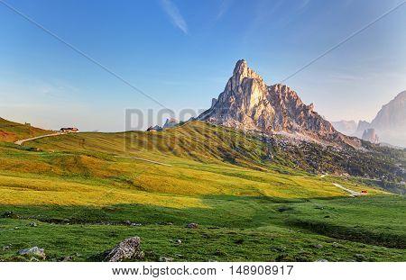 Landscape nature mountan in Alps Dolomites Giau.
