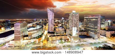Sunset panorama of Warsaw capital of Poland Europe