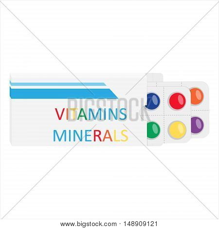 Blister packaging natural suppelements and vitamins concept vector illustration.