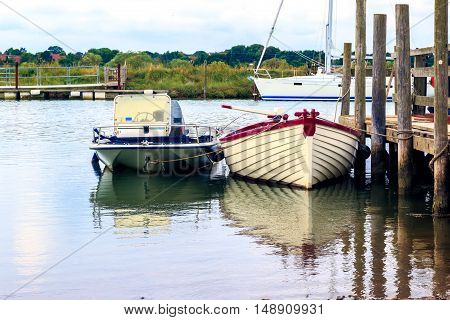 Moored boats in Southwold Harbour, Suffolk, UK
