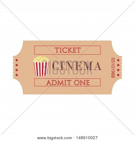 Vector illustration cinema ticket with popcorn symbol isolated on white background. Admit one. Movie ticket