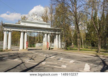 Doors with double-headed eagle. Spring Nature in Pavlovsk Saint Petersburg park.