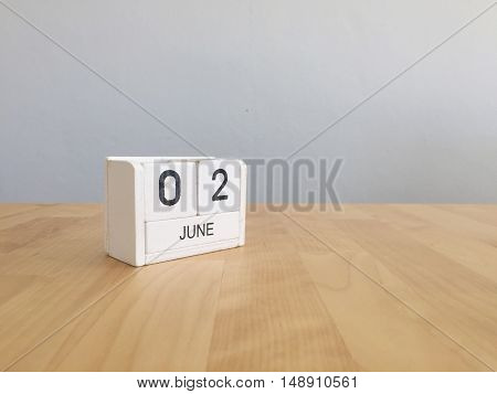 June 2Nd.june 2 White Wooden Calendar On Vintage Wood Abstract Background. Summer Day.copyspace For