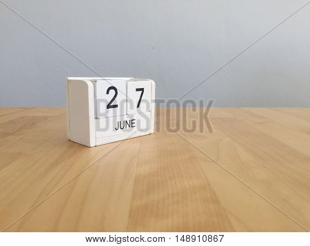 June 27Th.june 27 White Wooden Calendar On Vintage Wood Abstract Background. Summer Day.copyspace Fo