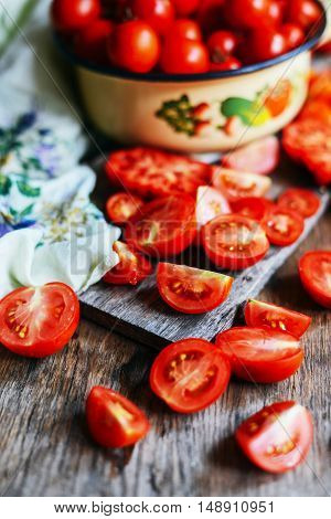 Tomato On Wooden Table. Freshly Picked Red Tomatoes. Variation O