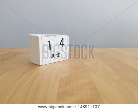 June 14Th.june 14 White Wooden Calendar On Vintage Wood Abstract Background. Summer Day.copyspace Fo