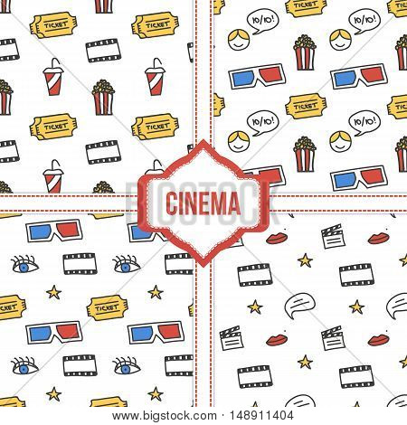 Set, collection of four simple modern colorful cinema, movie seamless patterns.