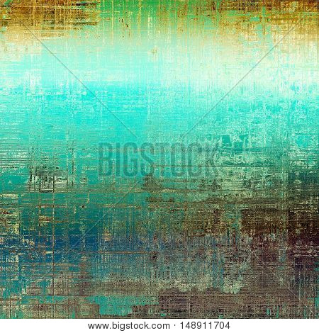 Old style decorative composition or designed vintage template with textured grunge elements and different color patterns: yellow (beige); brown; gray; green; blue; cyan