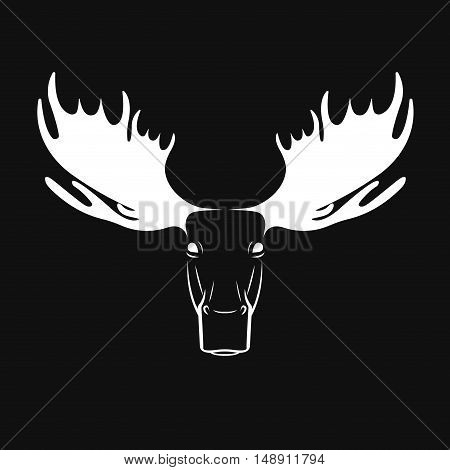 Vector images of moose head on a black background. Elk. Logo