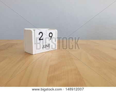 June 29Th.june 29 White Wooden Calendar On Vintage Wood Abstract Background. Summer Day.copyspace Fo