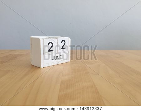 June 22Nd.june 22 White Wooden Calendar On Vintage Wood Abstract Background. Summer Day.copyspace Fo