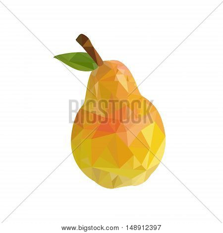 Vector illustration pear fruit low poly art. Pear fruit on a white background. Polygonal fruit. Triangular