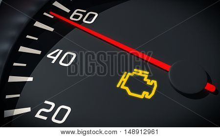 Engine Malfunction Warning Light Control In Car Dashboard. 3D Re