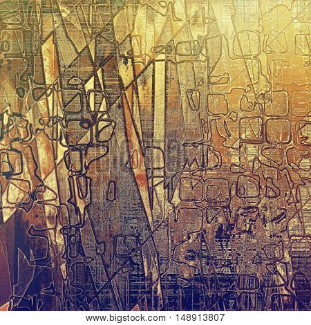 Geometric abstract vintage background with grunge effects, ragged elements, and different color patterns: yellow (beige); brown; gray; red (orange); purple (violet)
