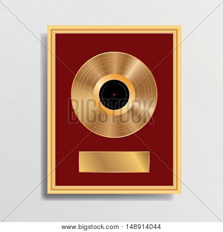 blank golden LP in golden frame, vector illustration, vector background