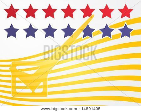 Check mark over stars and stripes, illustration United States elections
