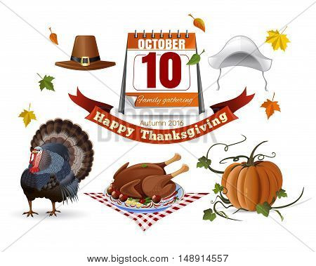 Icon set for Thanksgiving Day (Canada). Autumn 2016. Set of colored vector icons isolated on white background