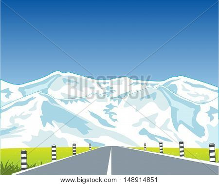 The Car road guiding to mountains on glade.Vector illustration